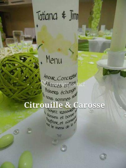 Menu vert et blanc