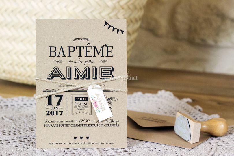 Faire-part baptême rustique