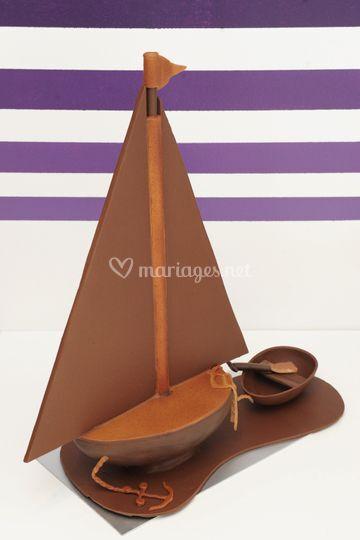 Sculpture en chocolat : Bateau