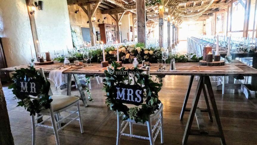 Vue table des mariés