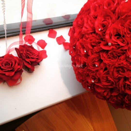 Boule de rose rouge