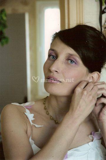 Maquillage mariée rose violet