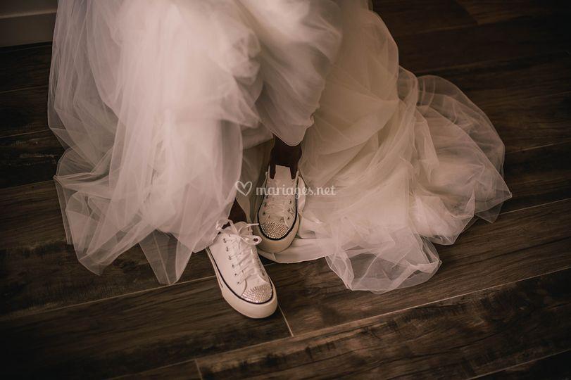 Mariée bien dans ses baskets