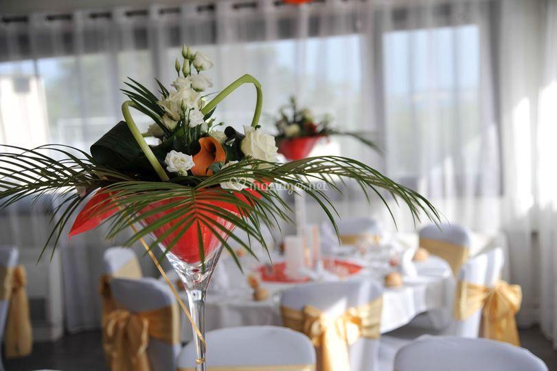Composition dans vase martini