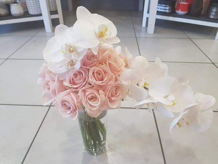 Bouquet de mariée roses et orc