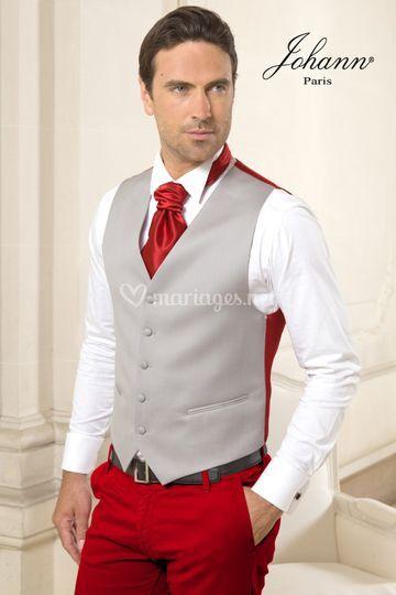 Pantalon rouge gilet coordonné