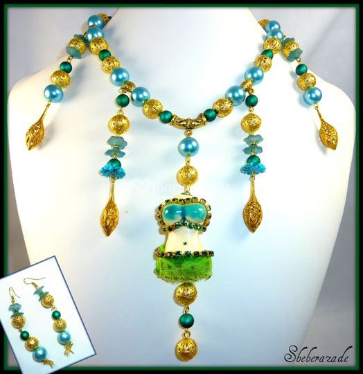 Shéhérazade (parure collier et boucles d'oreilles) : (en boutique sur Lyon)