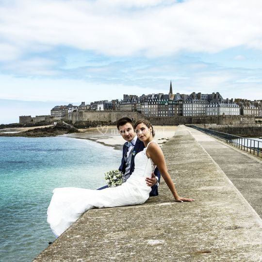 Sur la digue de Saint Malo