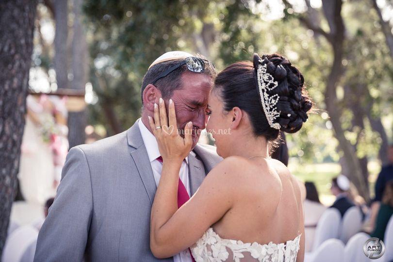 La mariée et son papa très ému
