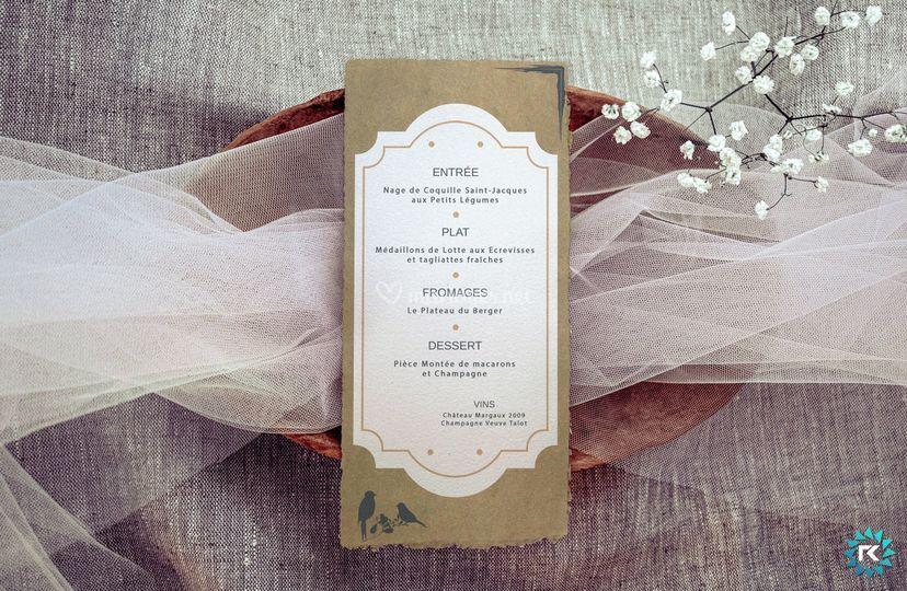 Mariage - Menu Verso
