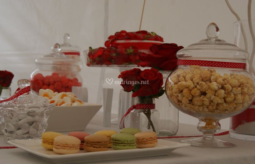 Candy bar rouge et blanc