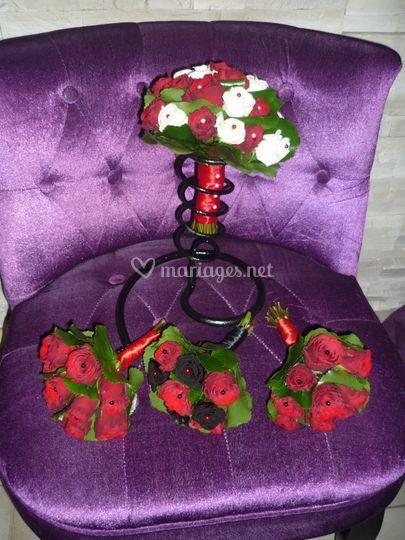 Bouquet de mariée et témoins
