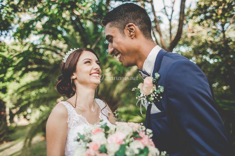 Les sourires des mariés