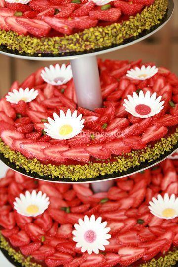 Tartes aux fraises à étages