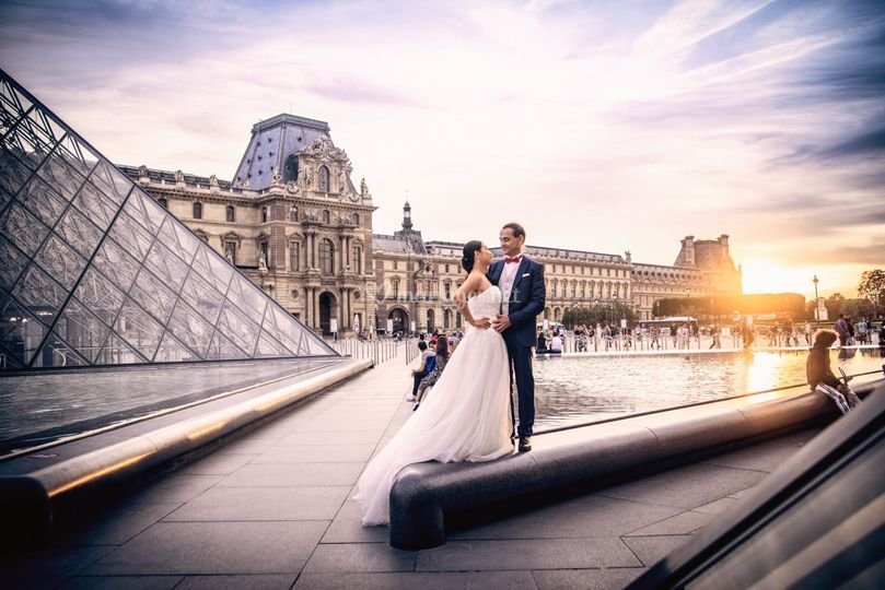 Shooting mariage au Louvre