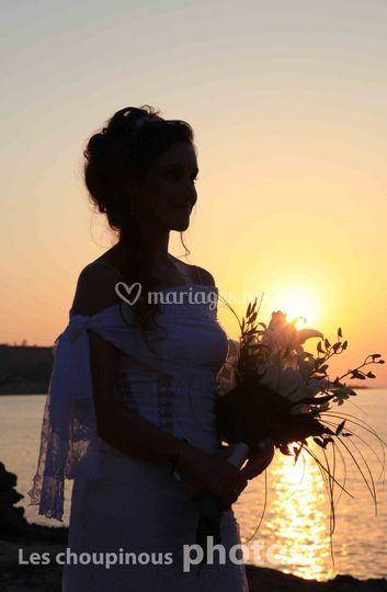 Couché de soleil sur la mariée