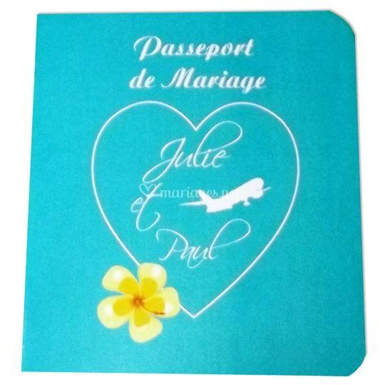 Passeport de mariage turquoise