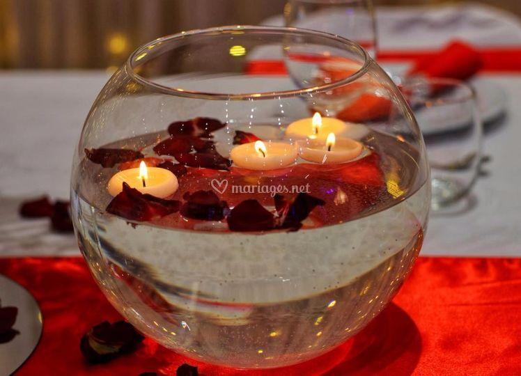 Vase boule bougies