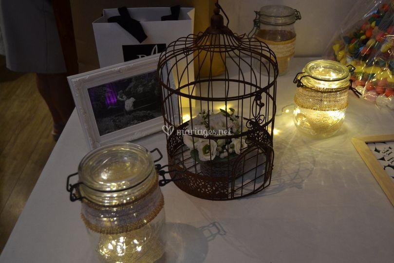 Cage à oiseaux+bocaux lumineux
