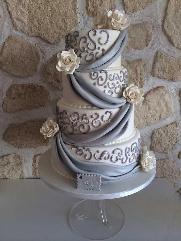 Wedding Cake Blanc Et Argent De Ma Boîte à Gâteau Photo 11