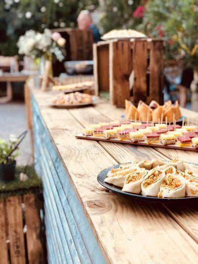 Table buffet bois et galva