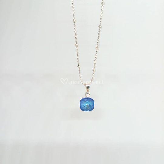 Collier cristal bleu lagon