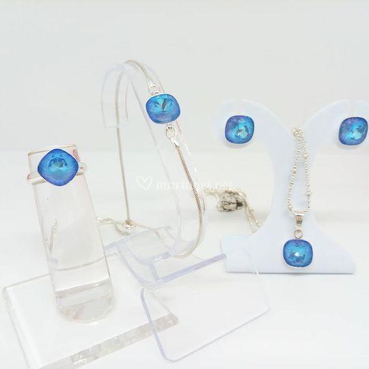 Parure cristal bleu lagon