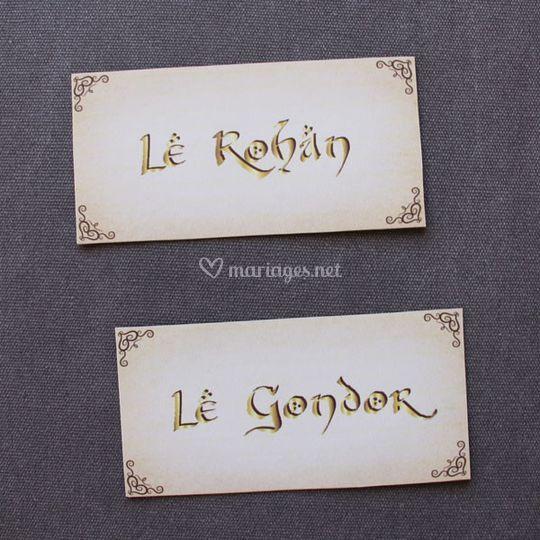 "Petites cartes ""nom de table"""