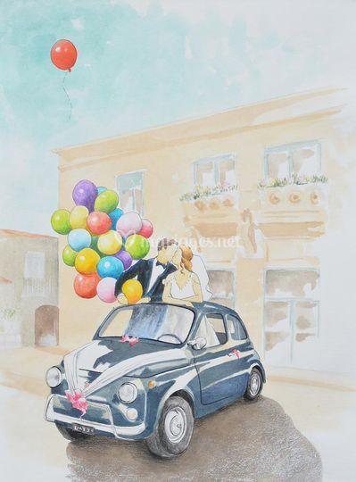 Mariage en Fiat 500