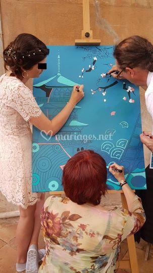 Peinture participative mariage