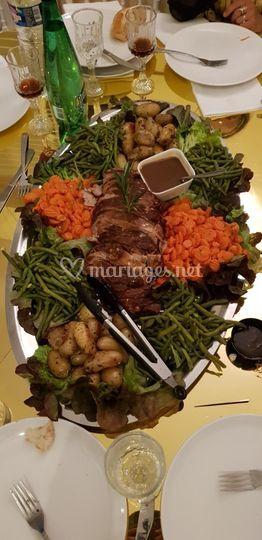 Rôti de veau et ses légumes