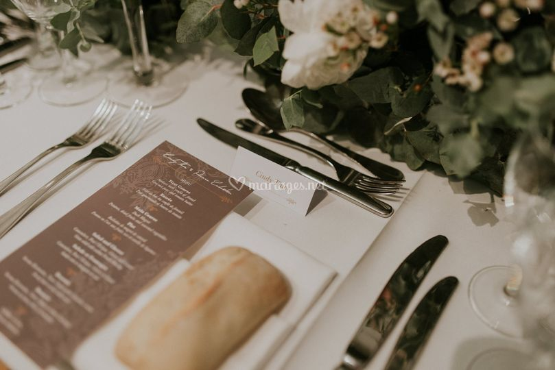 Menu table mariage