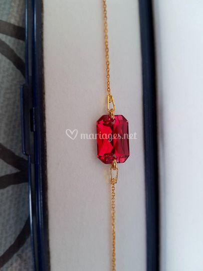 Bracelet rouge argt doré
