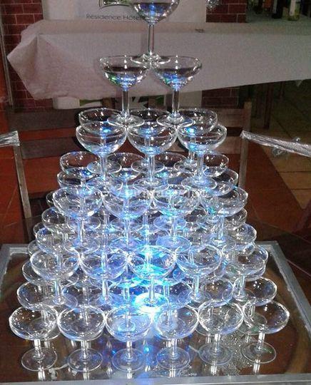 Cascade de champagne lumineuse
