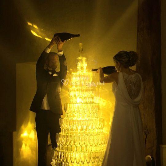 Eclairage fontaine à champagne