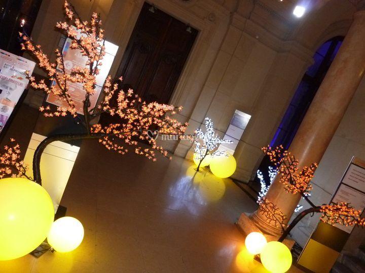 Arbres et sphères LED