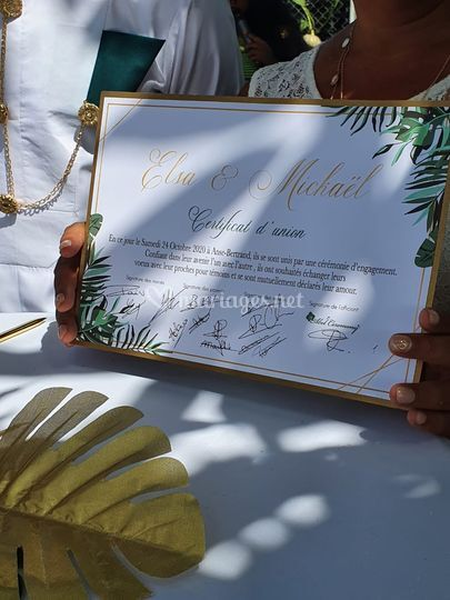 Certificat d'union