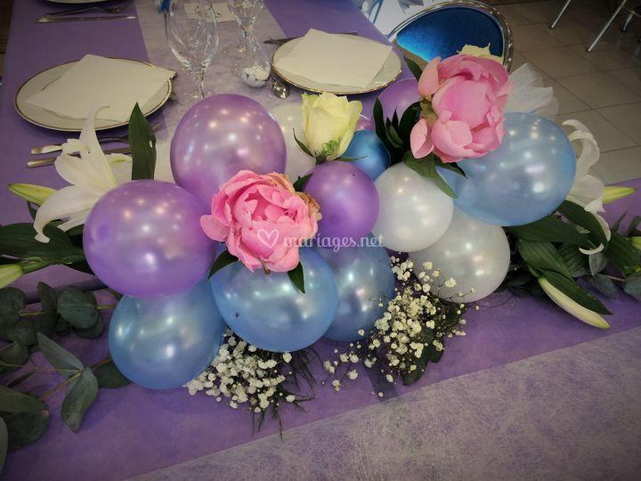 Centre de table mariés ballons
