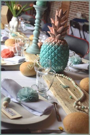 Tropical en corail et menthe