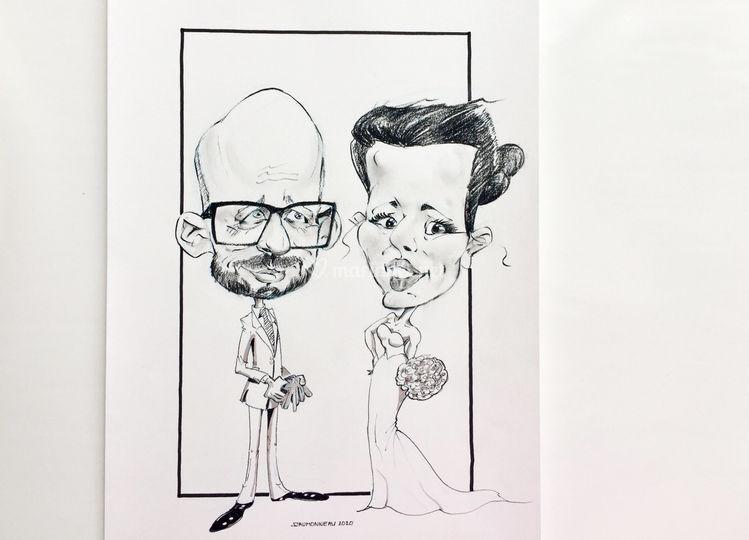 Caricature mariés 2020