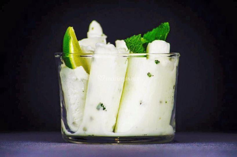 Glace citron vert, menthe rhum