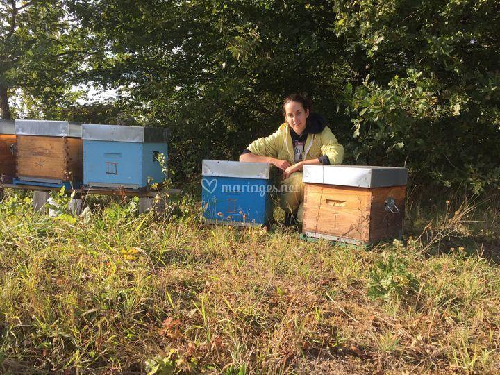 L'apicultrice et ses ruches