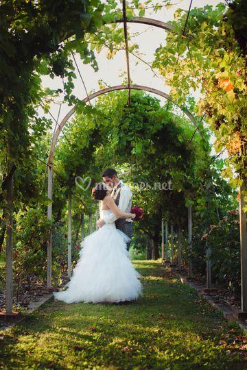 Mariés dans jardin privé