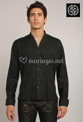 Chemise noire col Mao