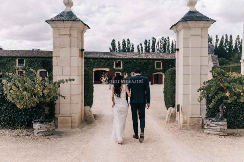 Les mariés en chemin