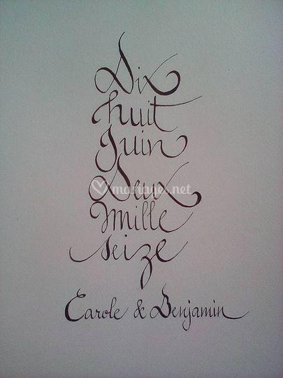 Date calligraphiée