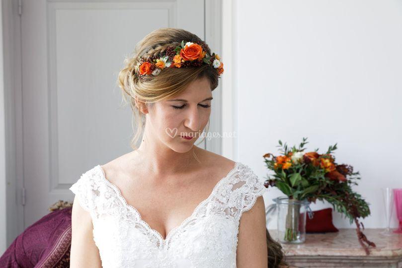Chignon couronne de fleurs