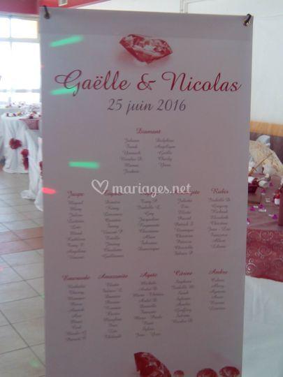 Plan de table du mariage