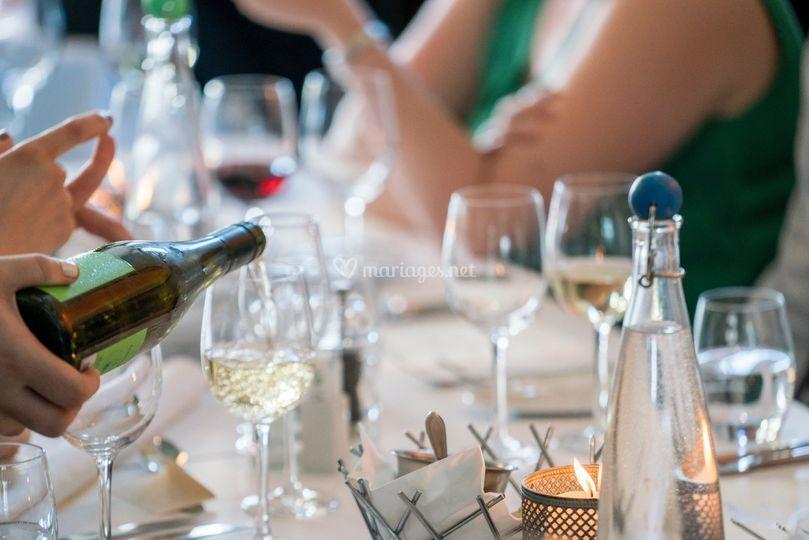Repas soirée champagne