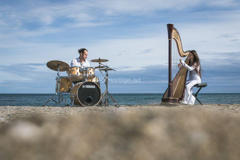 Duo -batterie - harpe à pédale